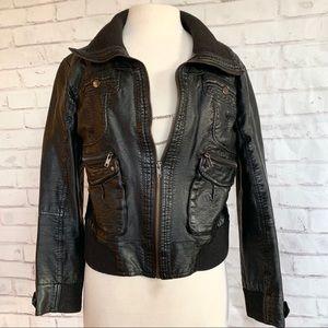Vegan Leather Aviator Jacket